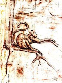 Skizze, Affe, Baum, Zeichnung