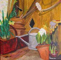 Narzissen, Blumen, Osterglocken, Kanne
