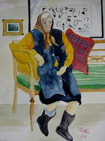 Person, Aquarellmalerei, Figur, Oma