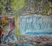 Digital, Landschaft, Digitale kunst, Wasserfall
