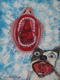 Fresse, Klappe, Aquarellmalerei, Mund