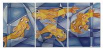 Fisch, Goldfisch, Bad, Abstrakt