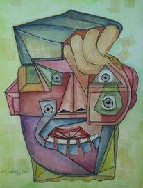 Portrait, Lachen, Rot, Mann