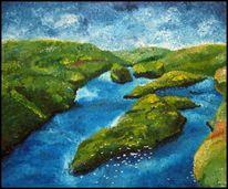 Landschaft, Malerei, Fjord, Bergen