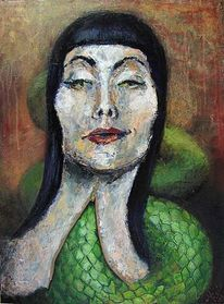 Frau, Malerei, Portrait, Figural