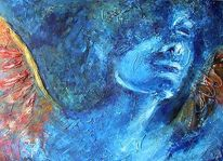 Malerei, Figural, Portrait, Blau