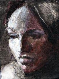 Schwarz, Menschliche, Portrait, Expressionismus