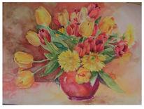 Aquarellmalerei, Tulpen, Malerei, Stillleben