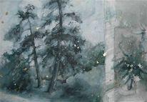 Baum, Grafik, Landschaft, Aquarellmalerei