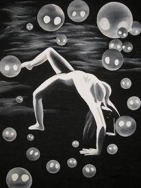 Malerei, Seifenblasen, Figural, Akt
