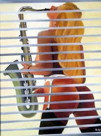 Musik, Fenster, Frau, Figural