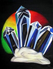 Bergkristall, Malerei, Kristall, Menschen
