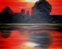 Rot schwarz, Spiegelung, Landschaft, Malerei