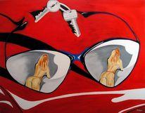 Akt, Frau, Malerei, Sonnenbrillen