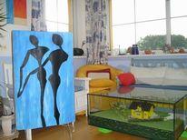 Gemälde, Dekoration, Blau, Lampe