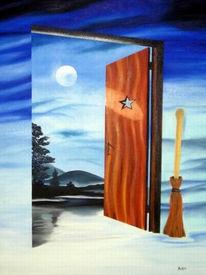 Blau, Tür, Besen, Mond
