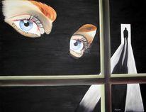 Augen, Surreal, Schatten, Schwarz
