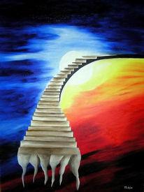 Wurzel, Malerei, Treppe, Surreal