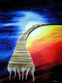 Surreal, Malerei, Treppe, Stiege