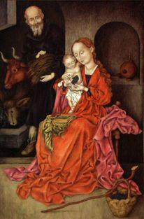 Heilige familie, Malerei, Schongauer, Hochwertige