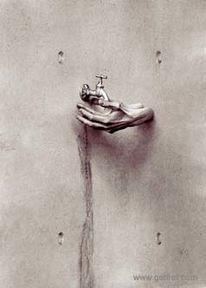 Fotografie, Wand, Hand, Manipulation