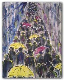 Regen, Menschen, Herbst, Acrylmalerei