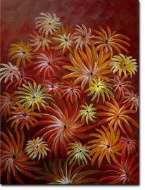 Acrylmalerei, Blumen, Herbst, Stern