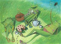 Zeichnung, Zeichnungen, Frosch