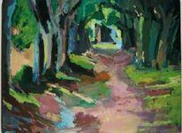 Malerei, Landschaft, Waldweg
