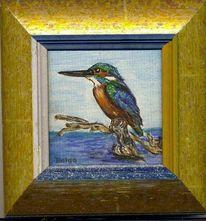 Malerei, Figural, Ölmalerei, Eisvogel