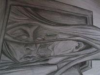 Gesicht, Bleistiftzeichnung, Zeichnungen,