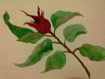 Blätter, Hagebutte, Rot, Malerei
