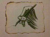 Malen, Stif, Hand, Bleistiftzeichnung