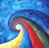 Malerei, Blau, Abstrakt, Weg