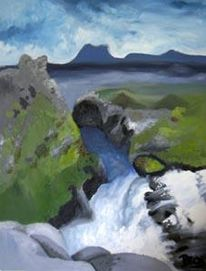 Landschaft, Wasserfall, Malerei, Island