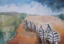 Gewitter, Wüste, Landschaft, Malerei