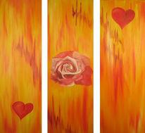 Warm, Rose, Malerei, Rot