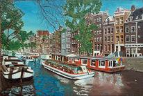 Gracht, Malerei, Amsterdam, Landschaft
