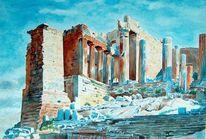 Aquarellmalerei, Akropolis, Propyläen, Tempel