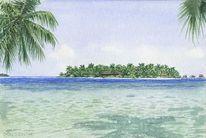 Malediven, Grafik, Aquarellmalerei, Atoll