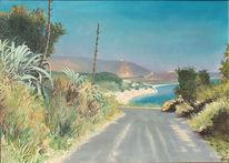 Mittagshitze, Malerei, Griechenland, Landschaft