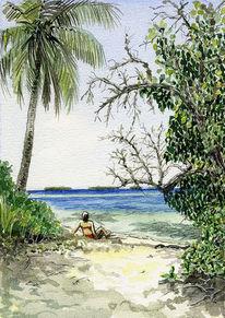 Atoll, Korallenriff, Grafik, Palmen