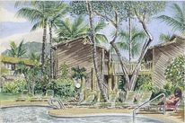 Becken, Hawaii, Grün, Palmen