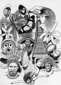 Zeichnung, Ureinwohner, Südsee, Melanesien