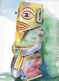 Aquarellmalerei, Tiki, Polynesien, Grafik
