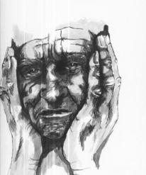 Hände, Skizze, Gesicht, Zeichnung