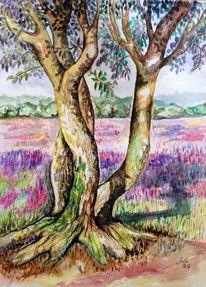 Birken, Lila, Heide, Aquarellmalerei