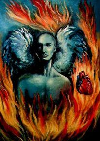 Malerei, Rot, Feuer, Flammen
