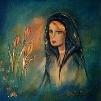 Malerei, Blumen, Blau, Frau
