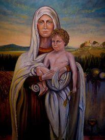 Malerei, Madonna, Kind, Menschen